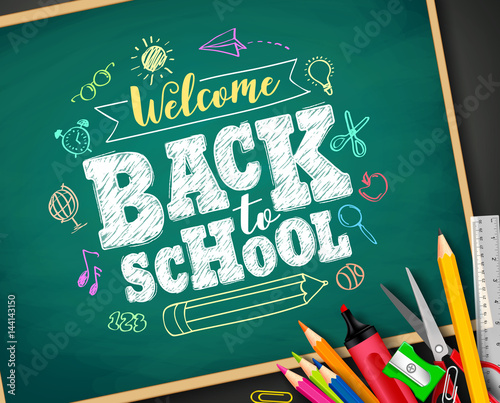 welcome back to school text drawing by colorful chalk in blackboard with school items and. Black Bedroom Furniture Sets. Home Design Ideas