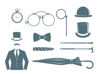 Vintage style design hipster gentleman vector illustration gray silhouette design mustache element.