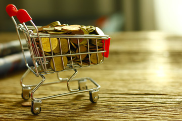 Stock Photo - Shopping trolley with coins