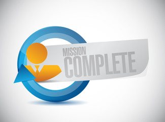 mission complete people cycle sign concept