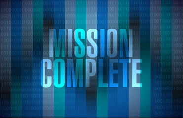 mission complete binary sign concept
