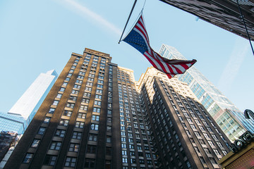 "Image of New York. ""Buildings and flags"""