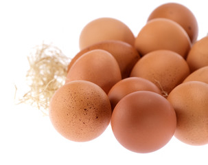 Isolate Close up Hen Eggs Lay on Straw