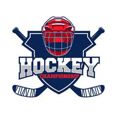 Colorful hockey tournament challenge logo label on shield