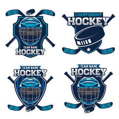Hockey sport team logotype templates set