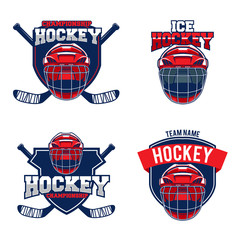 Set of ice hockey teams logos