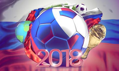 2018 russian ball. soccer football 3d rendering of an ball