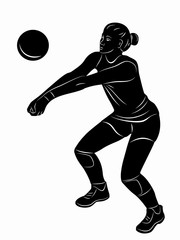 illustration of a volleyball player woman, vector draw