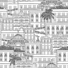 Hand drawn seamless pattern of Mexico, with Mexican houses and the Palacio de Bellas Artes