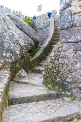 Ancient Moorish Castle in the huge rocks. Sintra. Portugal