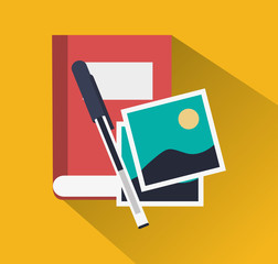 book pen and pictures icon image vector illustration design