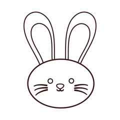 kawaii rabbit face icon over white background. vector illustration