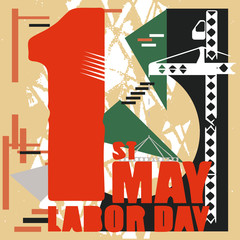 May 1,  the festival of spring and labor, the International Workers' Solidarity Day. Postcard, banner, poster. Picture of a faucet with a stove