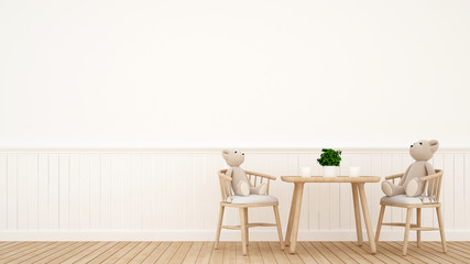 bear doll on dining room or kid room - 3D Rendering