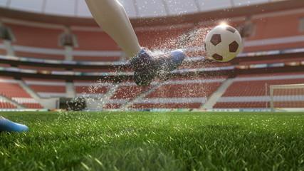 detail soccer player kicking ball on field 3d illustration