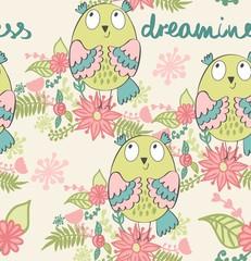 vector illustration of a cartoon owl in dreams