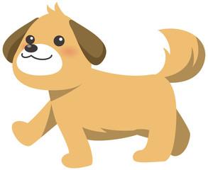歩くかわいい茶色い犬のイメージイラスト