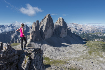 Sesto/Sexten, Dolomites, South Tyrol, province of Bolzano, Italy. View from the summit of Monte Paterno/Paternkofel on the Tre Cime di Lavaredo/Drei Zinnen