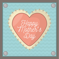 happy mothers day card shape heart ornament vector illustration eps 10