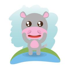 cute hippopotamus animal wildlife vector illustration eps 10