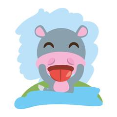 cute hippopotamus animal winking vector illustration eps 10