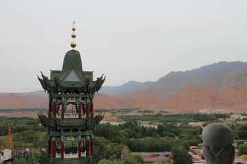 Amdo Tibet Tibetan Qinghai China Xunhua Chinese Muslim Muslims Islam Mosque Style Turret Turrets View Views Village Town Mountain Mountains Asia Asian