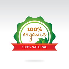 Green and Red Ribbon 100% Organic Product Label and Design Element