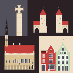 The buildings of the old town in Tallinn.  Vector illustration