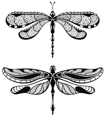 Set of Dragonfly. Tattoo style