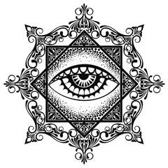 Eye pyramid mandala symbol