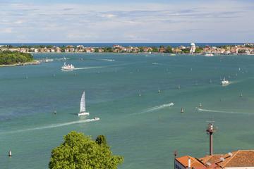 View of Lido Venice from San Giorgio Maggiore. Venice, Veneto, Italy.