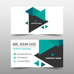 Green triangle corporate business card, name card template ,horizontal simple clean layout design template , Business banner template for website