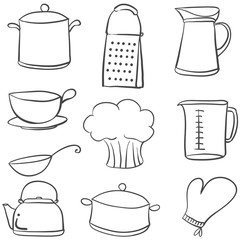 Doodle of kitchen various equipment