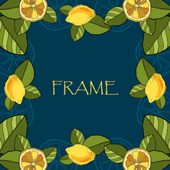 FRAME with lemons on a blue background. Vector illustration