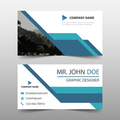 Blue triangle corporate business card, name card template ,horizontal simple clean layout design template , Business banner template for website