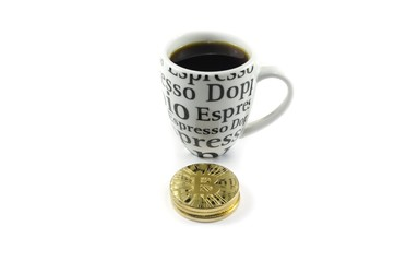 Coffee cup and bitcoin coins laying on white background