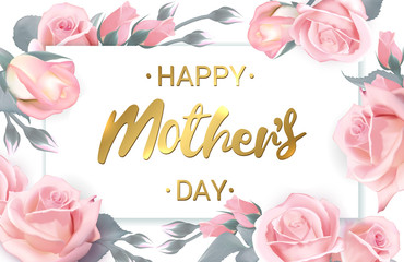 Happy Mothers Day. Card with beautiful flowers. Happy Mothers Day greeting card with pink delicate roses. Rose flower horizontal banner. Vector illustration