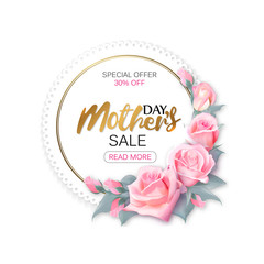 Women's day sale round frame with pink roses and gold lettering, womens shopping. Vector illustration.