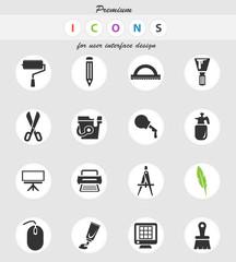 art tools icon set