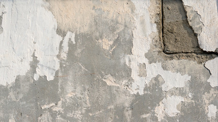 Fotobehang Oude vuile getextureerde muur background of natural cement plaster on the wall grey plain textured with cracks in the upper right corner