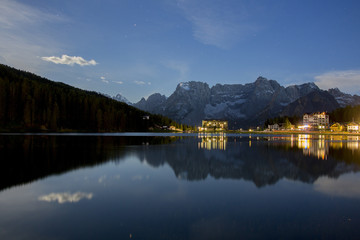 Starry sky during a full moon night in Misurina. Cortina d'Ampezzo. Dolomites. Veneto. Italy. Europe