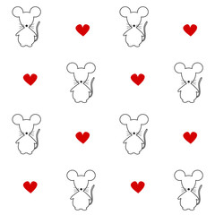 cute mouse silhouette seamless vector pattern background illustration with hand drawn red hearts