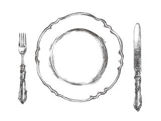 皿とナイフとフォークイラスト