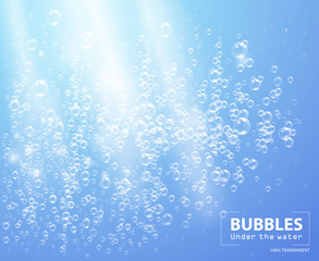 Bubbles under water vector illustration on blue background with sunbeams