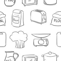 Doodle of kitchen equipment various