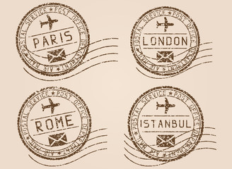 City postmarks. Old faded retro styled impress