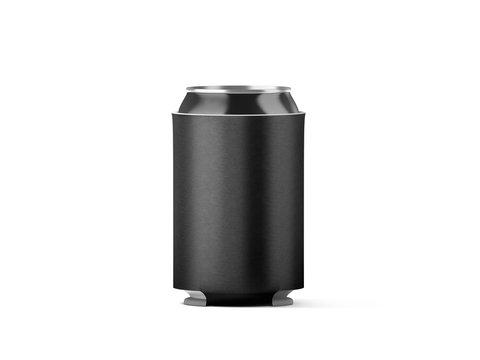 Blank black collapsible beer can koozie mockup isolated, 3d rendering. Empty neoprene cooler holder mock up for tin beverage. Plain drinkware hugger design template. Clear fizzy pop soda sleeve.