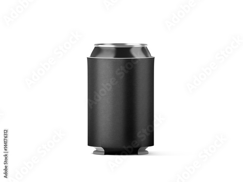 blank black collapsible beer can koozie mockup isolated 3d rendering empty neoprene cooler. Black Bedroom Furniture Sets. Home Design Ideas