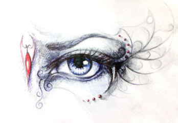 Drawing of woman eye on graphic background with ornament. Graphic effect.