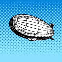 Airship pop art vector illustration
